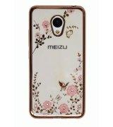 TPU накладка Pink Flowers для Meizu M3 / M3s