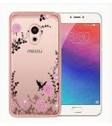 TPU накладка Pink Flowers для Meizu Pro 6