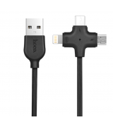 Кабель Hoco X10 Starfish Lightning/MicroUSB/Type-C Black