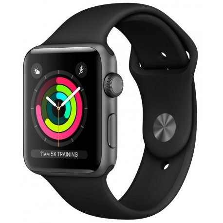 Apple Watch Series 3 42mm (GPS) Space Gray Aluminum Case with Black Sport Band (MQL12)