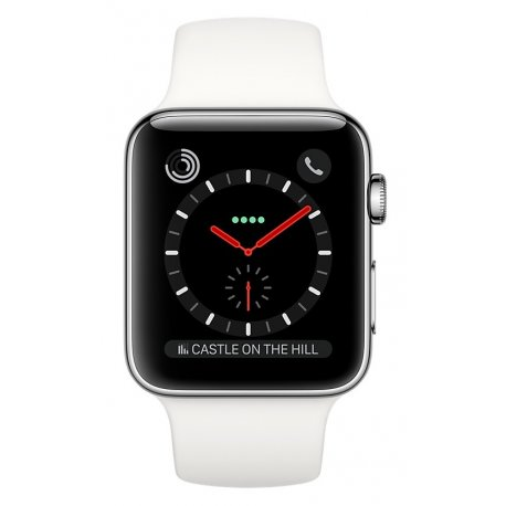 Apple Watch Series 3 42mm (GPS+LTE) Stainless Steel Case with White Sport Band (MQK82)