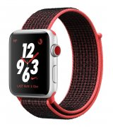 Apple Watch Series 3 Nike+ 42mm (GPS+LTE) Silver Aluminum Case with Bright Crimson/Black Nike Sport Loop (MQLE2)