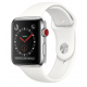 Apple Watch Series 3 38mm (GPS+LTE) Stainless Steel Case with Soft White Sport Band (MQJV2)
