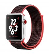 Apple Watch Series 3 Nike+ 38mm (GPS+LTE) Silver Aluminum Case with Bright Crimson/Black Nike Sport Loop (MQL72)