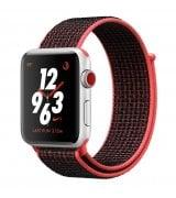 Apple Watch Series 3 Nike+ 38mm (GPS+LTE) Silver Aluminum Case with Bright Crimson/Black Nike Sport Loop (MQL72)