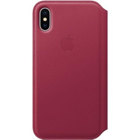 Чехол Apple iPhone X Leather Case Folio Berry (MQRX2)
