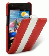 Кожаный чехол Melkco Flip (JT) Limited Edition для Samsung i9100 S 2 (Red/White)