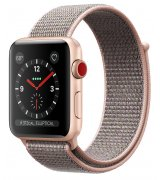 Apple Watch Series 3 42mm (GPS+LTE) Gold Aluminum Case with Pink Sand Sport Loop (MQK72)