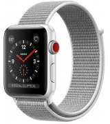 Apple Watch Series 3 38mm (GPS+LTE) Silver Aluminum Case with Seashell Sport Loop (MQJR2)