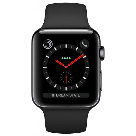 Apple Watch Series 3 42mm (GPS+LTE) Space Black Stainless Steel Case with Black Sport Band (MQK92)