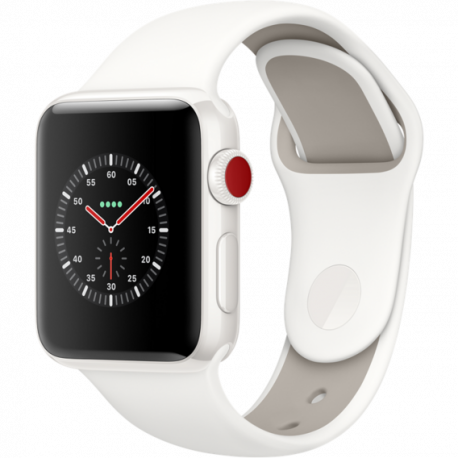 Apple Watch Series 3 42mm (GPS+LTE) White Ceramic Case with Soft White/Pebble Sport Band (MQJY2)
