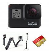 Бандл Видеокамера GoPro HERO7 Black (CHDHX-701) + Крепление-монопод GoPro 3-Way Tripod (AFAEM-001) + Карта памяти на 64Gb