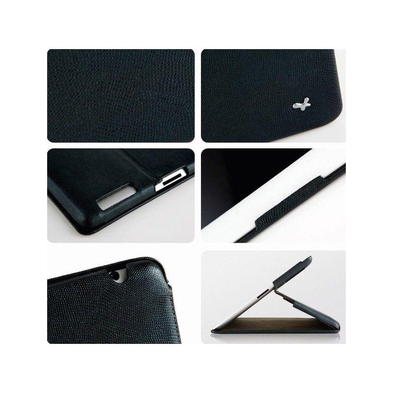 Кожаный чехол Zenus для Apple iPad 2 Prestige Stand Black Lizard