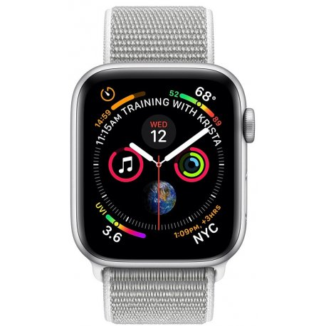 Apple Watch Series 4 40mm (GPS) Silver Aluminum Case with Seashell Sport Loop (MU652)