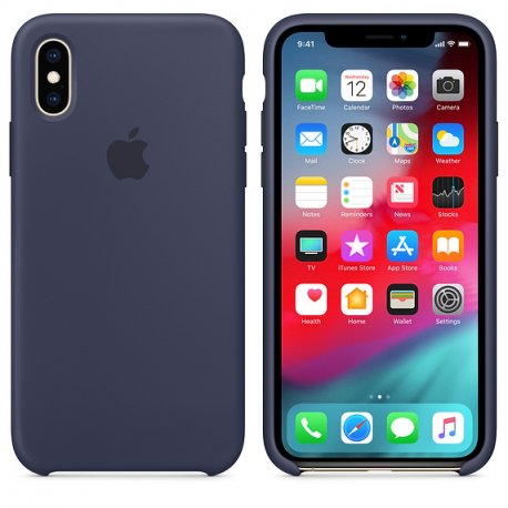 Чехол Apple iPhone XS Silicone Case Midnight Blue (MRW92)