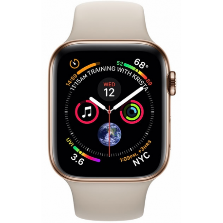 Apple Watch Series 4 44mm (GPS+LTE) Gold Stainless Steel Case with Stone Sport Band (MTV72/MTX42)