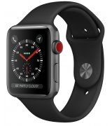 Apple Watch Series 3 38mm (GPS+LTE) Space Gray Aluminum Case with Black Sport Band (MTGH2)