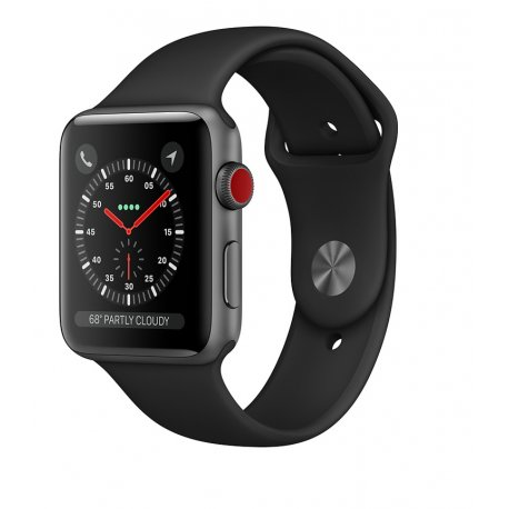 Apple Watch Series 3 42mm (GPS+LTE) Space Gray Aluminum Case with Black Sport Band (MTGT2)