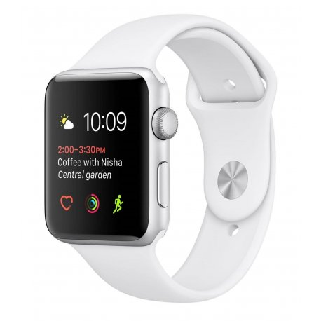 Apple Watch Series 1 42 mm Silver Aluminum Case with White Sport Band (MNNL2)