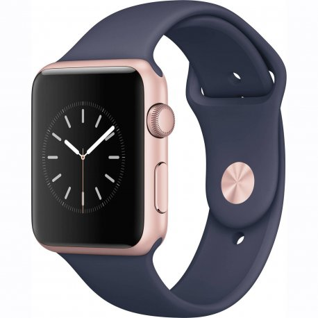 Apple Watch Series 1 42 mm Rose Gold Aluminum Case with Midnight Blue Sport Band (MNNM2)
