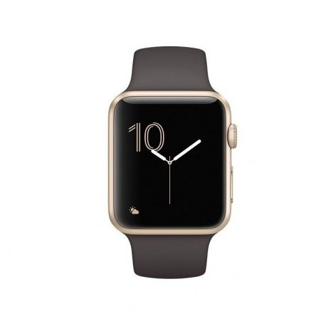 Apple Watch Series 1 42 mm Gold Aluminum Case with Cocoa Sport Band (MNNN2)