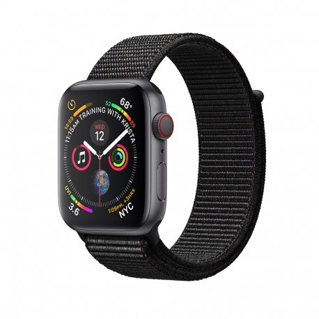 Apple Watch Series 4 44mm (GPS+LTE) Space Gray Aluminum Case with Black Sport Loop (MTUX2)