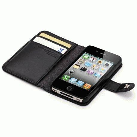 SGP iPhone 4/4s Leather Wallet Case Valentinus Series Black
