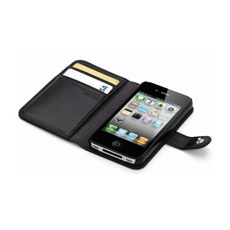 SGP iPhone 4/4s Leather Wallet Case Valentinus Series Black