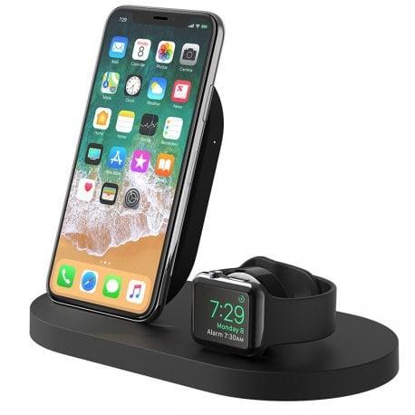 Док-станция Belkin Qi Wireless для Apple Watch + iPhone + USB Black (F8J235VFBLK)