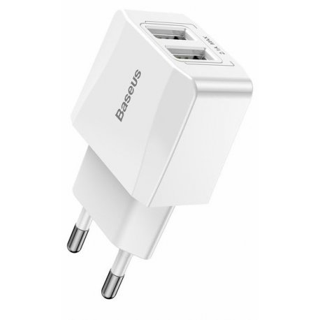 Сетевое зарядное устройство Baseus Mini Dual-U Charger 2.1 A (CCALL-MN02) White