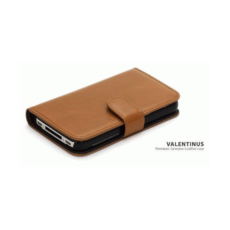 SGP iPhone 4/4s Leather Wallet Case Valentinus Series Brown