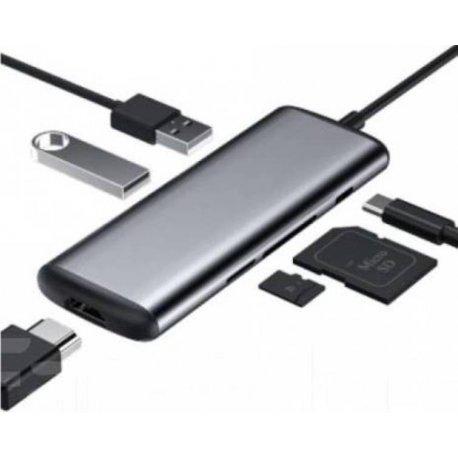 Адаптер Xiaomi HaGiBiS Type-C to USB3.0/HDMI/PD/Card Reader Multi-Adapter (UC39-PDMI) Grey