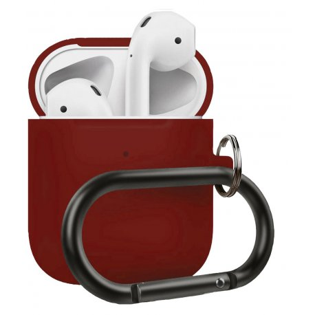 Чехол Wireless Silicone Case для Apple AirPods 2 with Carbine Bordo