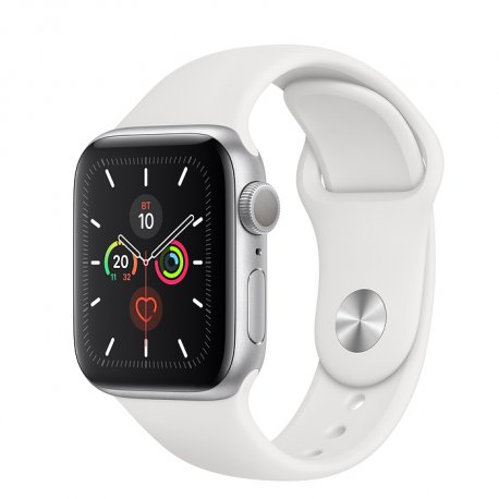 Apple Watch Series 5 40mm (GPS) Silver Aluminum Case with White Sport Band (MWT32)
