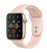 Apple Watch Series 5 44mm (GPS) Gold Aluminum Case with Pink Sand Sport Band (MWVE2)