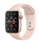 Apple Watch Series 5 44mm (GPS+LTE) Gold Aluminum Case with Pink Sand Sport Band (MWW02)