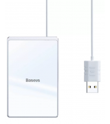БЗУ Wireless Charger Baseus Card Ultra-Thin 15W с кабелем USB 1 м Silver (WX01B-S2)