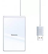 БЗУ Wireless Charger Baseus Card Ultra-Thin 15W с кабелем USB 1 м Silver (WX01B-S2)