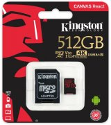 Карта памяти Kingston microSDXC 512GB Canvas React Class 10 UHS-I U3 V30 + SD-адаптер (SDCR/512GB)