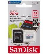 Карта памяти SanDisk Ultra microSDHC UHS-I 32GB + SD-adapter (SDSQUNC-032G-GN6IA)