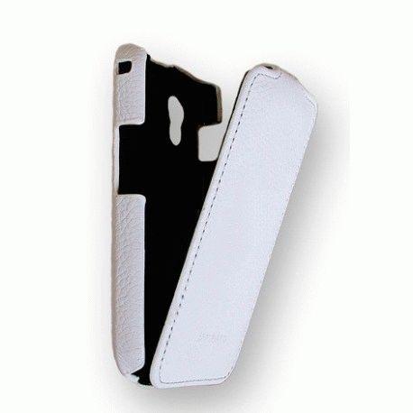 Кожаный чехол Melkco (JT) для Samsung S5830 white