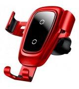 Автодержатель с беспроводным ЗУ Baseus Metal Wireless Fast Charger Gravity Mount Air Outlet Type WXYL-B09 Red (WXYL-B09)
