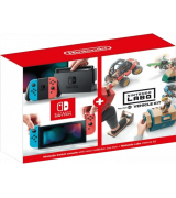 Nintendo Switch V2 with Neon Red and Neon Blue Joy-Con + Nintendo Labo Vehicle Kit