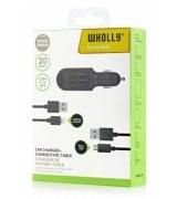 Автомобильное зарядное устройство Melkin 4USB ports + Lightning + microUSB cables 1.2m Black (M8MJ635)