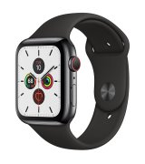 Apple Watch Series 5 44mm (GPS+LTE) Space Black Stainless Steel Case with Black Sport Band (MWW72)