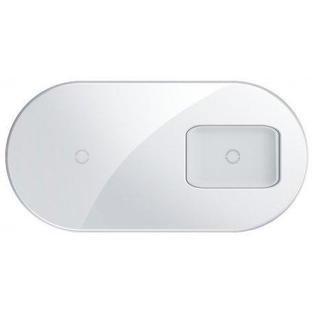 Беспроводное зарядное устройство Baseus Simple 2 in 1 Pro Edition For Phone + Pod White (WXJK-C02)