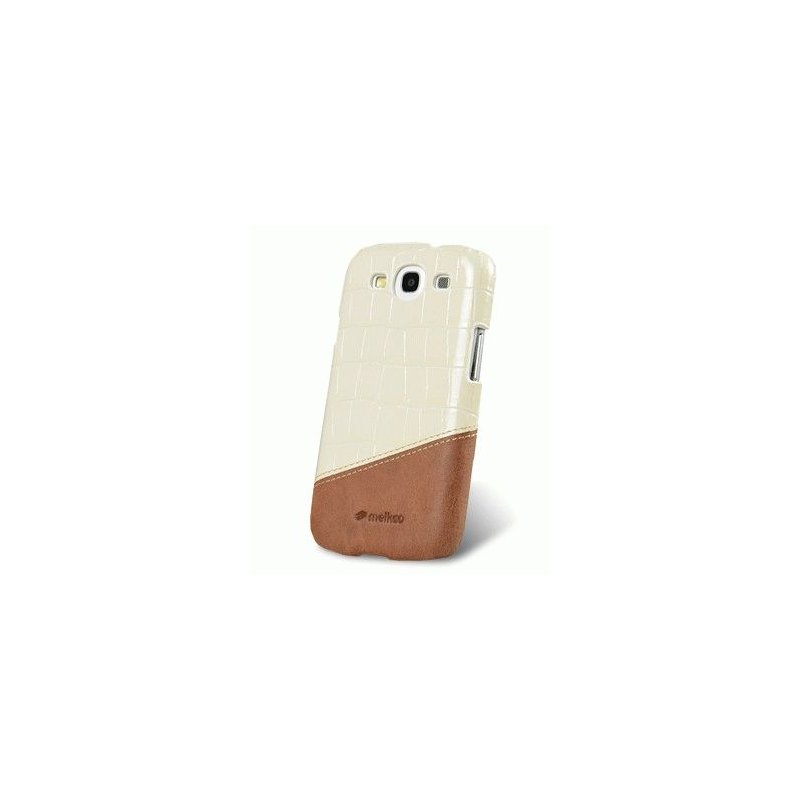 Кожаная накладка Melkco MIX and MATCH для Samsung Galaxy SIII i9300 White - Brown
