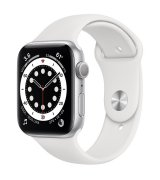 Apple Watch Series 6 44mm (GPS) Silver Aluminum Case with White Sport Band (M00D3UL/A)