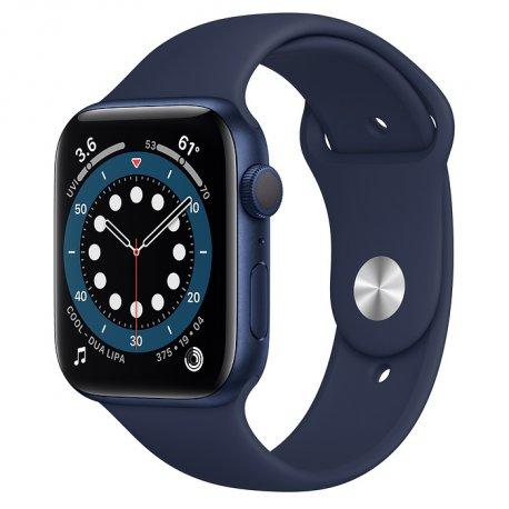 Apple Watch Series 6 44mm (GPS) Blue Aluminum Case with Deep Navy Sport Band (M00J3UL/A)