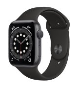Apple Watch Series 6 44mm (GPS) Space Gray Aluminum Case with Black Sport Band (M00H3UL/A)
